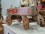 Vintage Pepsi Cola Wooden Crate Hand Crafted Wagon