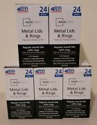 Mainstays Regular Mouth Canning Jar Lids And Rings 5 Boxes Of 24 Each = 120 Total