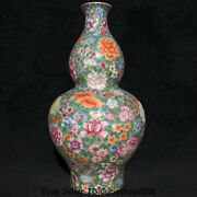 12qianlong Marked Old Dynasty Colour Enamel Porcelain Flower Gourds Bottle Vase