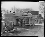 And03950and039s Shell Gas Station Ann Arbor Mi 2 4x5 Old Film Photo Negatives Lot Pump
