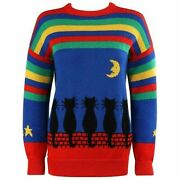 Sally's Own C.1980's Multicolor Striped Black Cat Knit Pullover Crewneck Sweater