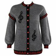Sally's Own C.1980's Gray Black Music Note Knit Red Button Up Cardigan Sweater
