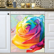 Kitchen Dishwasher Magnet - Beautiful Rainbow Rose And Butterfly
