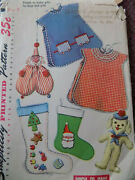 Size 3 Simplicity Vtg 1940/50s Gifts To Make Apron Stocking Dog Sewing Pattern