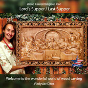 Lord`s Supper Last Supper Wood Carving Art Icon Picture Vladyslav Dzoz Woodcraft