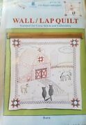New Stamped Embroidery Cloth 36 X 36 Wall/lap Quilt Top Barn Barnyard Animals
