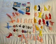1950and039s Vintage Cracker Jack Colorful Gumball Charm Plastic Toy Prize Lot Of 63
