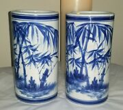 Beautiful Pair Oriental Blue/white Cylindrical Vases 2
