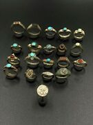 Lot Of Vintage Antique Jewelry Bronze And Silver Rings Seal Ancient Sasanian Old