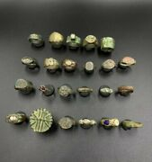 Lot Of Old Vintage Authentic Antique Jewelry Bronze Rings Seal Ancient Greek's