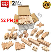 Wooden Train Track Set Real Wood, Toy Railroad Sets 52-piece Train Tracks New