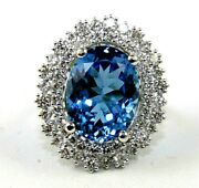 Natural Oval Blue Topaz And Diamond Halo Solitaire Ring 14k White Gold 14.80ct