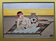 Marcellus Medina Painting Framed Zia Native American Male Baby Pottery Boy