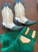 Antique 1930and039s Rodeo Ben Western Womens Green Parade Pants W/ Green Boots