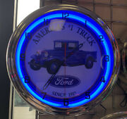 Ford Blue Neon Wall Clock Car Truck Automotive Sign
