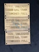Vintage Gas Tank Plates Metal Gold Unleaded Signs Gas Station