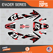Graphics Kit For Honda Crf70 All Years Crf 70 Crf-70 Evader- Red Black