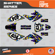 Graphics Kit For Honda Crf70 All Years Crf 70 Crf-70 Shatter-purple Yellow