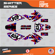 Graphics Kit For Honda Crf70 All Years Crf 70 Crf-70 Shatter - Red Blue