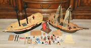 120+ Pieces Lot Playmobil Pirates Ships Accessories Weapons People Birds Toys