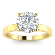 0.73ct D-si1 Diamond Plain Band Engagement Ring 18k Yellow Gold Any Size