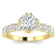 1.73ct D-si1 Diamond Vintage Engagement Ring 14k Yellow Gold Any Size