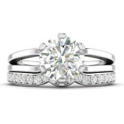 1.19ct D-si1 Diamond Round Engagement Ring 18k White Gold Any Size