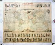 World Map Le Petit Journal 1890 By Menetrier Large Original Lithography On Linen