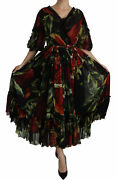 Dolce And Gabbana Dress Womenand039s Black Floral Roses Pleated Maxi Silk It40/us4/m