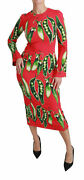 Dolce And Gabbana Dress Womenand039s Red Snap Pea Print Longsleeve Midi It46/us10/xxl