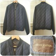 1000 Authentic Louis Vuitton Goose Feather Quilted Navy Blue Jacket Men Size 56