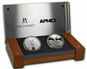 2020 2x1 Oz Silver Mexican Libertad Proof And Reverse Proof Coins Set.