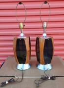 Pair Of Vintage Walnut Table Lamps