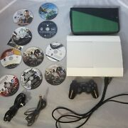 White 500gb Playstation 3 Super Slim Bundle Console Controller 10 Games Ps3