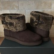 Ugg Classic Berge Mini Dark Roast Suede Shearling Ankle Boots Size Us 7 Womens