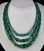 Antique Natural Emerald Beaded Necklace 3 Line 746 Carats Carved Drill Gemstone