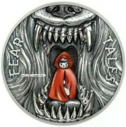 2019 2 Oz Silver 10 Palau Little Red Riding Hood Fear Tales Antique Finish Coin