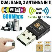 Lot 500 Mini Dual Band 600mbps Usb Wifi Wireless Adapter Network Card 2.4/5ghz