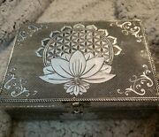 Hand Carved Wood Box Lotus Flowers Antique Collectible Metal Overlay 5x7 Free Sh