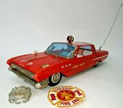Vint 50and039s - 60s Buick Lesabre Fire Dept. Chief Car 16 Tin Toy T.n. Nomura Japan