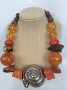 Hand Made Chinese Egg Yolk Amber Coral Sterling Silver 925 Necklace