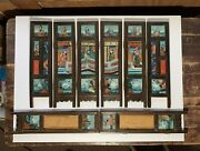 Antique Chinese 8 Panel Table Screen Reverse Painted Glass Qing 19th Century