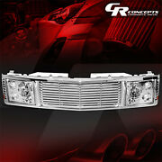 Chrome Headlight+fence Rover Grille For 1994-2000 Chevy Gmc C/k 1500-3500 Tahoe