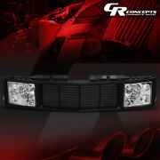 Chrome Headlight+black Fence Rover Grille For 1994-2000 Chevy Gmc C/k 1500-3500