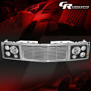 Black Headlight+chrome Fence Rover Grille For 1994-2000 Chevy Gmc C/k 1500-3500