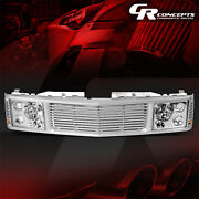 Chrome Headlight+silver Fence Rover Grille For 1994-2000 Chevy Gmc C/k 1500-3500