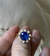 Lady Diana Style Diamond And Sapphire Nine Gold Engagement Ring Made In 1981