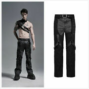 Dark Punk Style Men Trousers Daily Casual Loose Straight Belt Decoration Pants