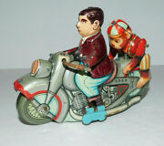 Neat Vintage Tin Windup Motorcycle With Moving Monkey Kanto Made In Japan Works
