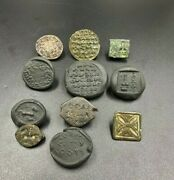 Old Antique Bronze Intaglio Coins Seal Stamp Inscription From Ancient Greek's
